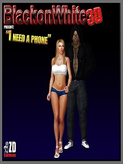 BlackonWhite3D - I Need A Phone | 3D Interracial Porn Comics