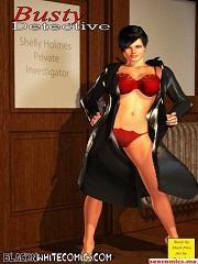 BlacknWhiteComics - 3D Busty Detective | 3D Interracial Porn Comics